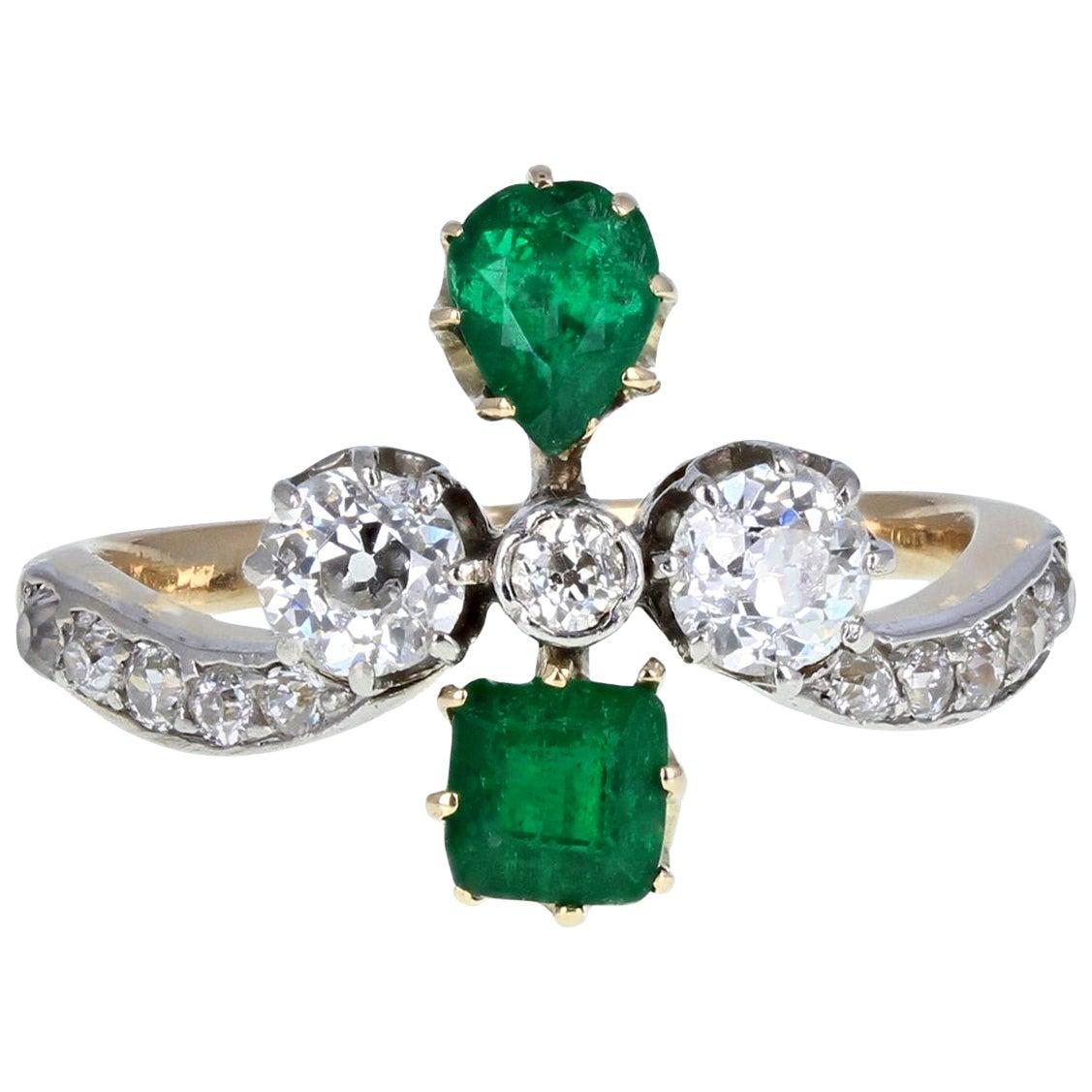 Antique Victorian 18 Carat Emerald Diamond Cluster Ring