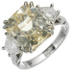 Peter Suchy 8.76 Carat Natural Yellow Sapphire Diamond Platinum Engagement Ring