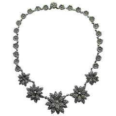 Antique Cut Steel Floral Motif Necklace