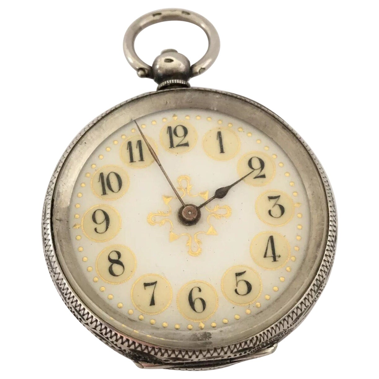 Antique Silver Yellow Enamel Dial Pocket Watch