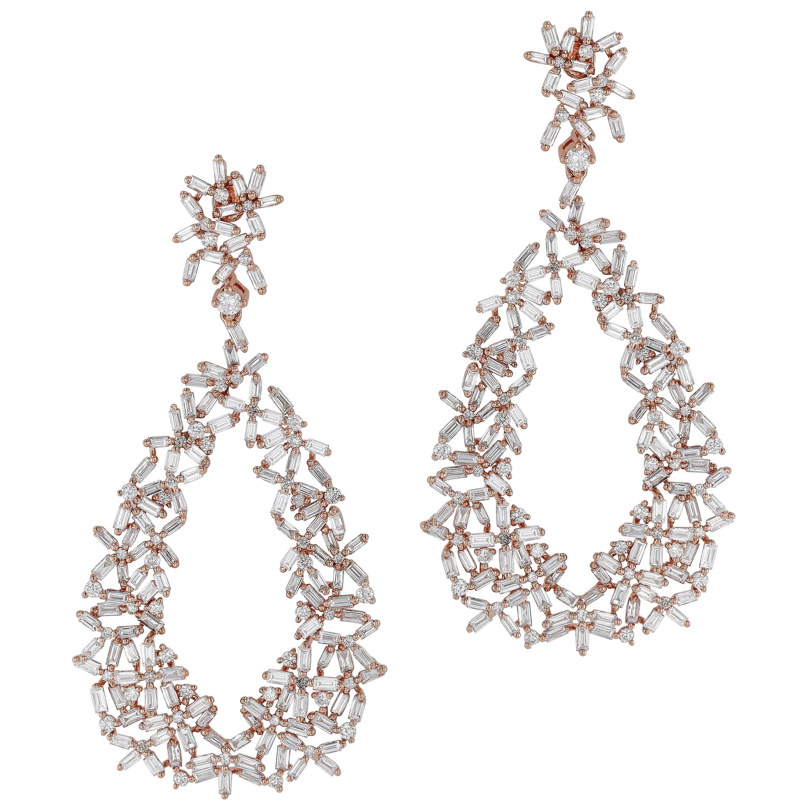 Amwaj Rose Gold 18 Karat Earrings with Diamonds