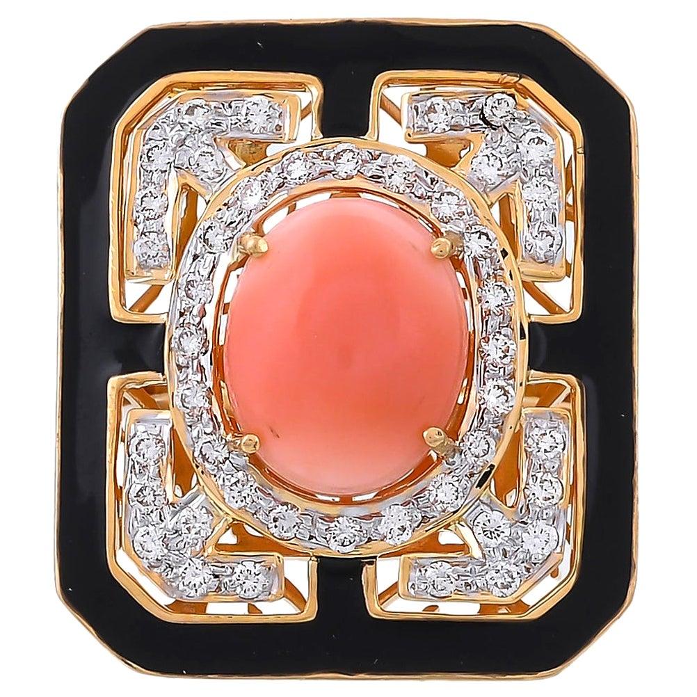 3.73 Carat Coral And Diamond Black Enamel 18 Karat Yellow Gold Ring