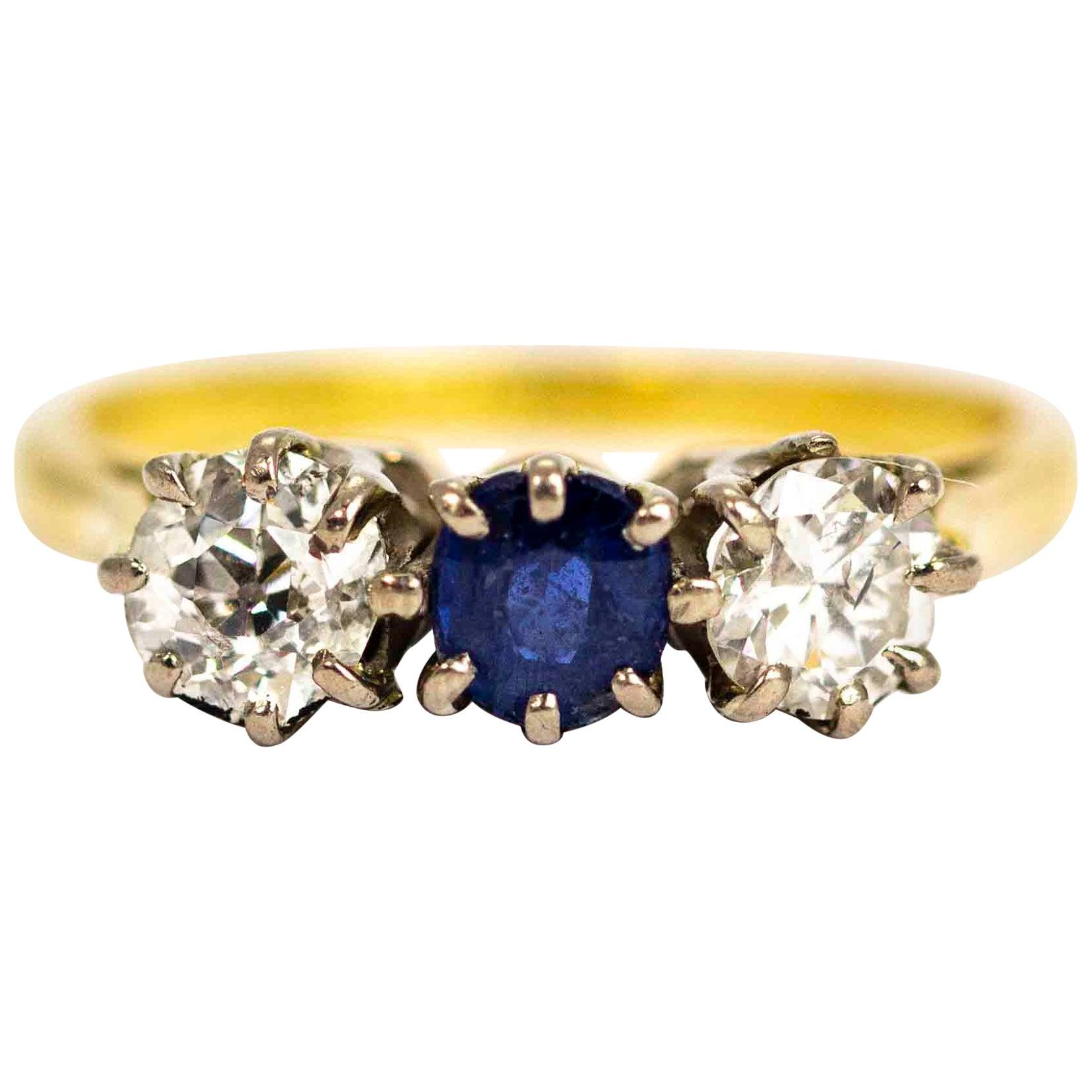 Vintage 18 Carat Gold Sapphire and Diamond Three-Stone Ring