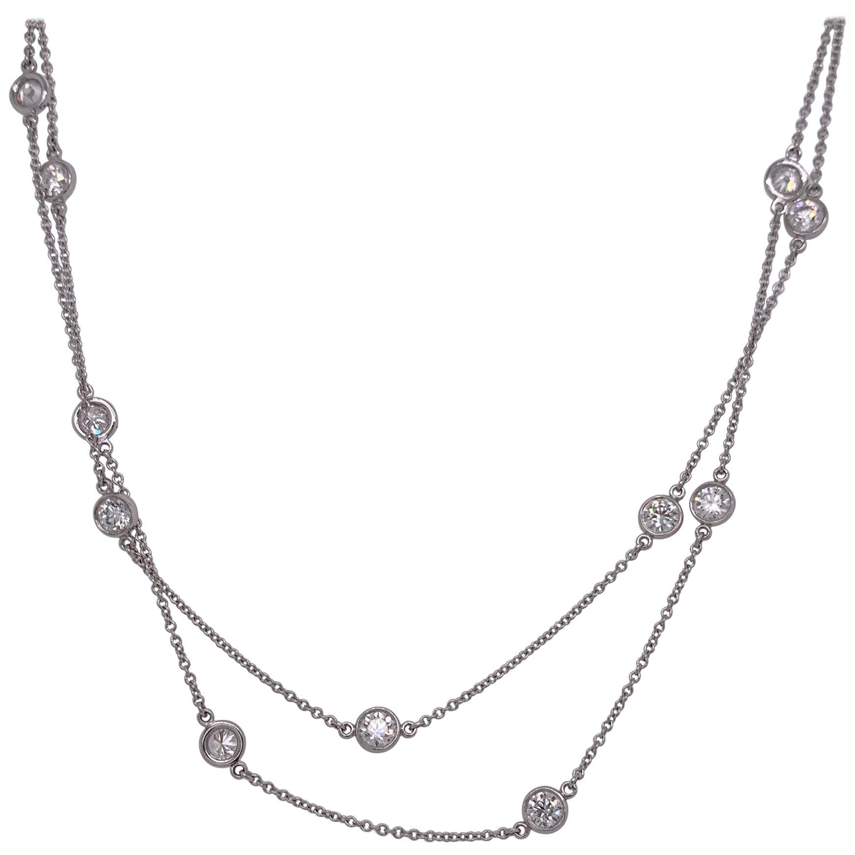 Estate Tiffany Elsa Peretti Diamonds by the Yard Necklace