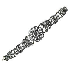 Antique Victorian Cut Steel Floral Motif Bracelet