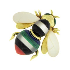 Asch-Grossbardt Gem Inlay Bee Brooch