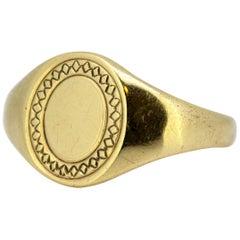 Vintage 9 Karat Yellow Gold Signet Ring