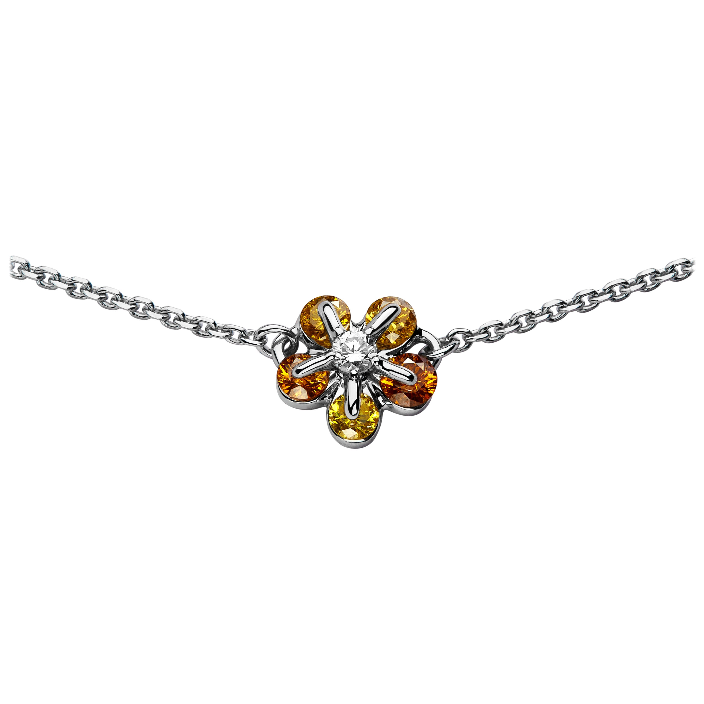Moiseikin 18 Karat White Gold Fancy Yellow Diamond Necklace