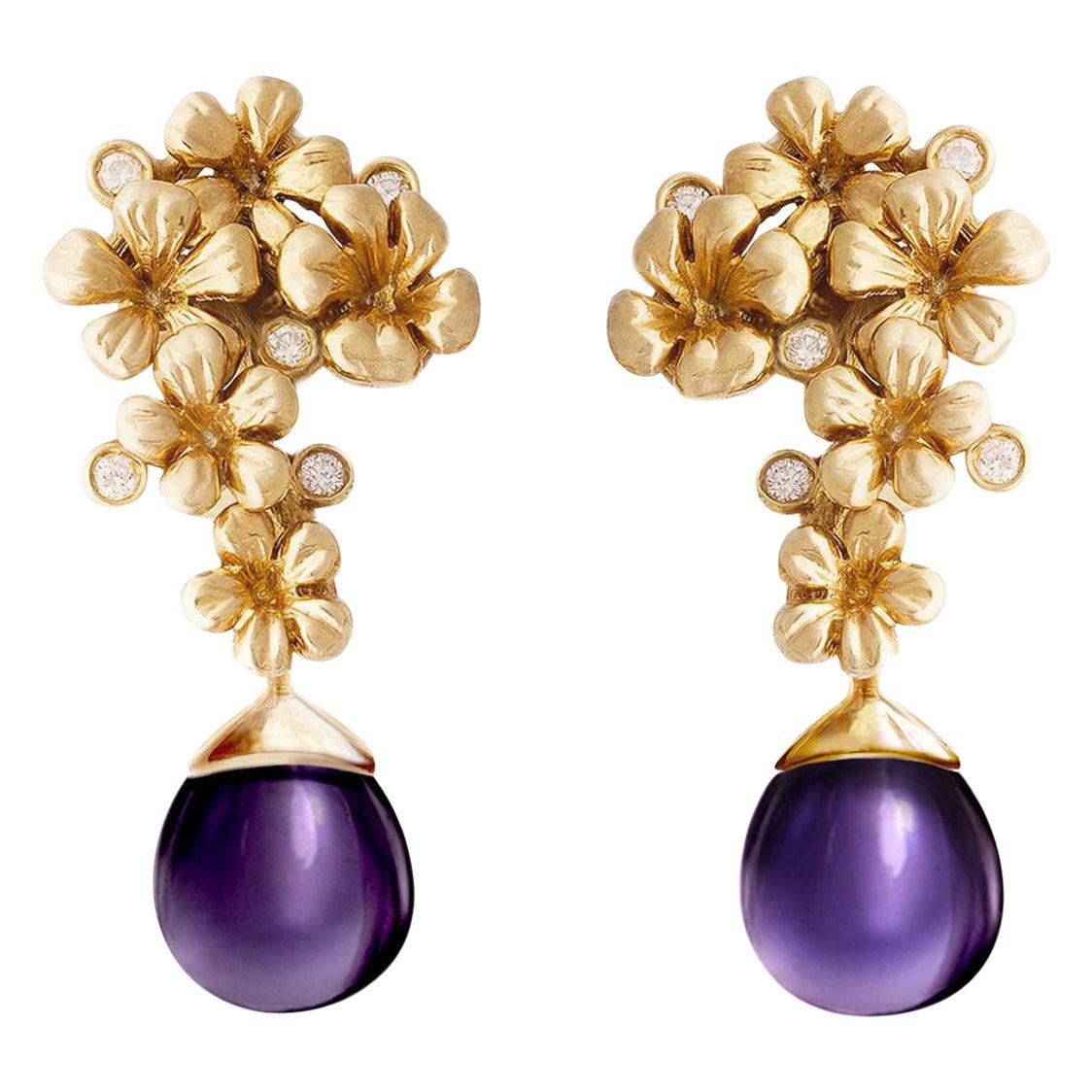 14 Karat Gold Modern Plum Blossom Cocktail Clip-On Earrings with Diamonds