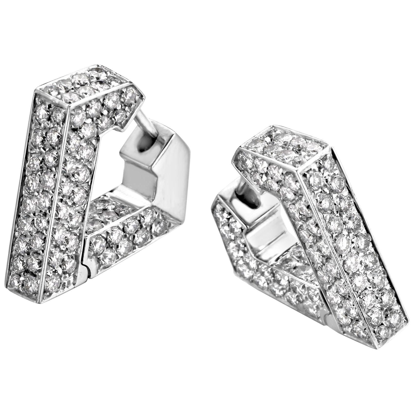 White Diamond 18 Karat Gold Hoop Earrings