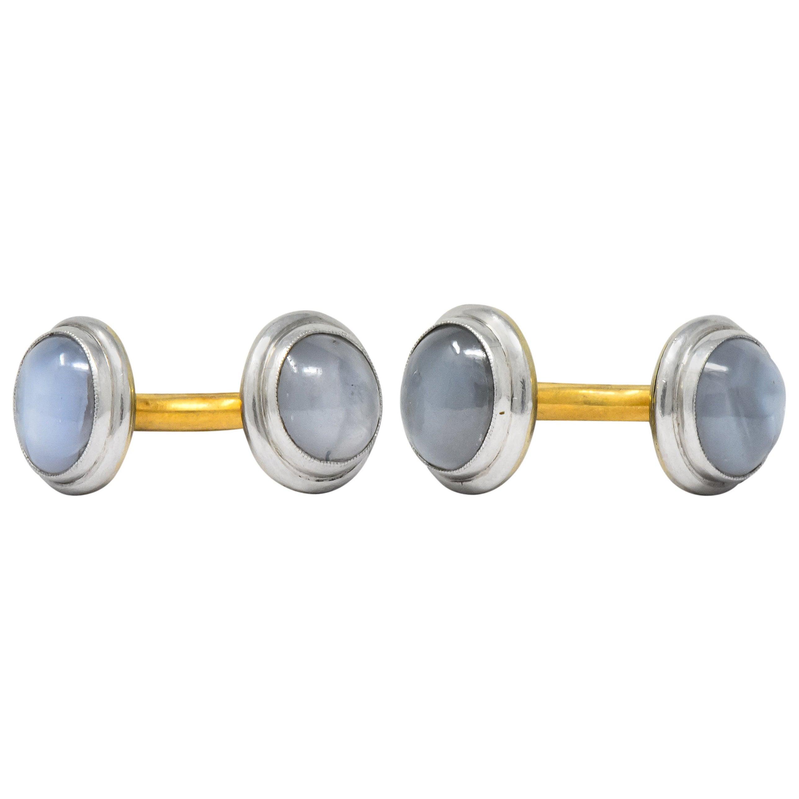 Edwardian Star Sapphire Platinum-Topped 14 Karat Gold Men's Cufflinks
