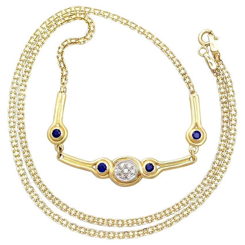 Diamond and Sapphire Yellow Gold Necklace