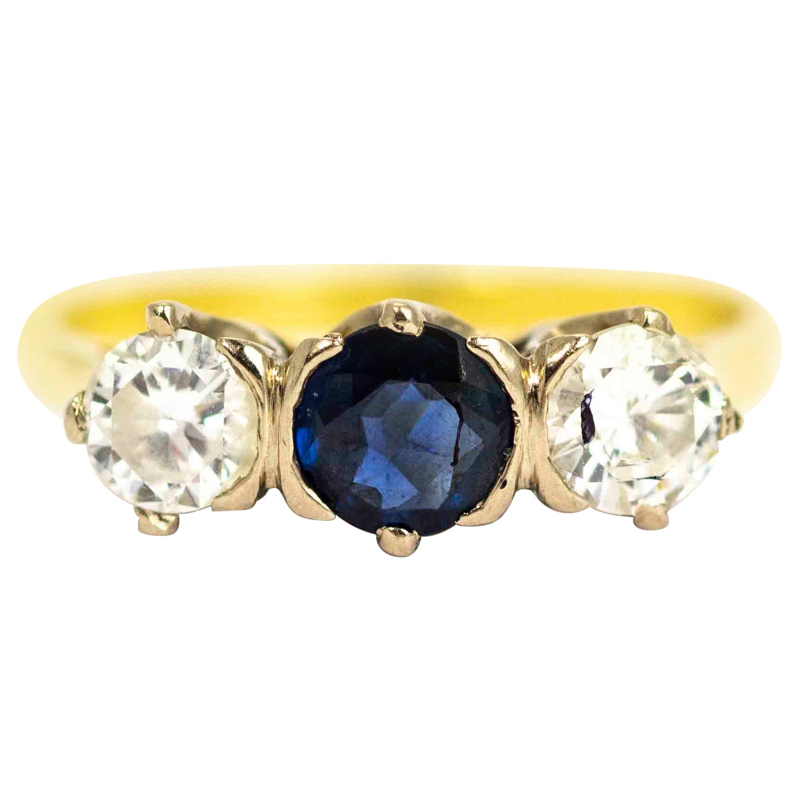 Vintage 18 Carat Gold Sapphire and Diamond Three-Stone Ring