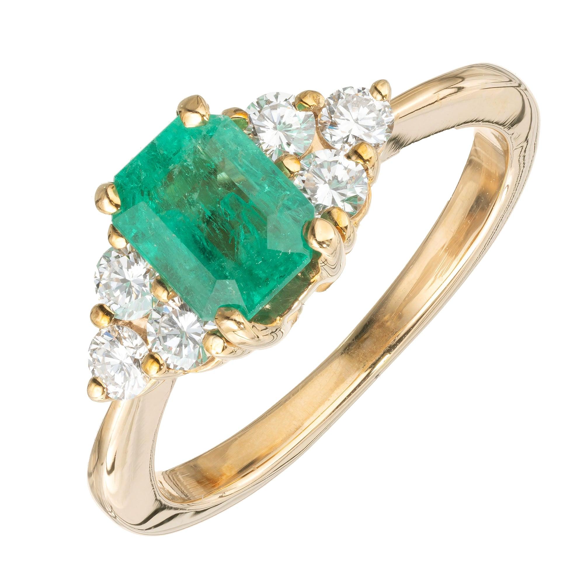 GIA Certified 1.09 Carat Emerald Diamond Yellow Gold Engagement Ring