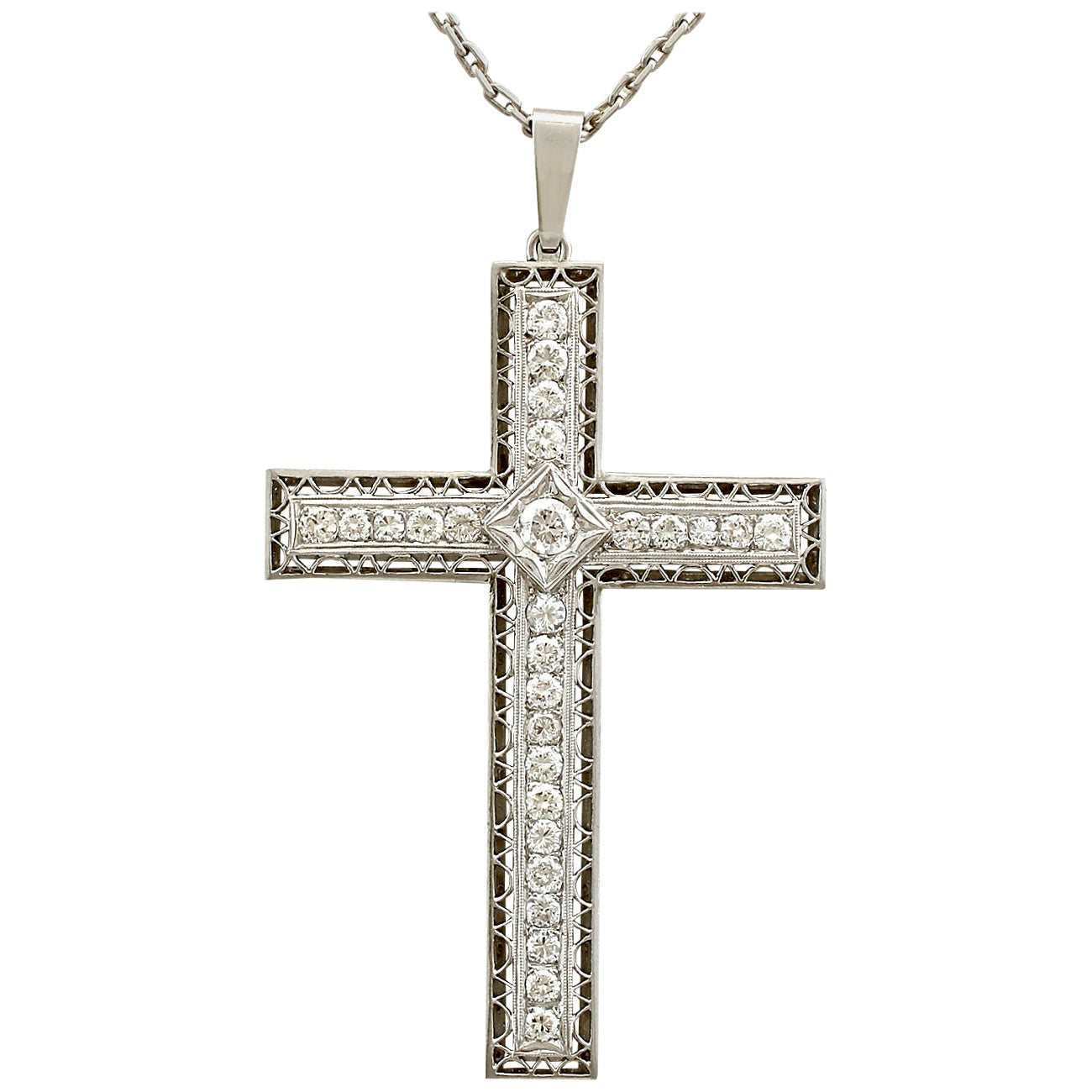 Antique 2.07 Carat Diamond and Platinum Cross Pendant, circa 1920