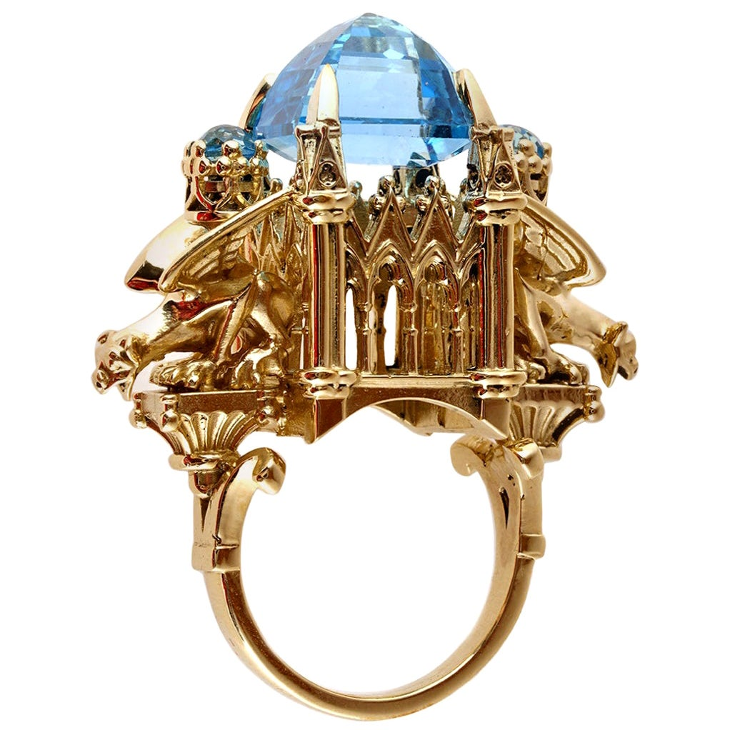 William Llewellyn Griffiths 9 Karat Gold, Blue Topaz Alchemist Cathedral Ring