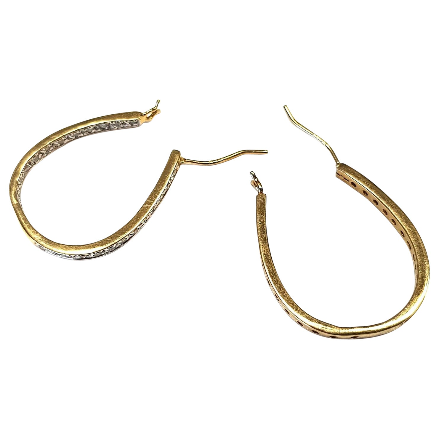 14 Karat Yellow Gold Horseshoe Hoop Earrings 1.00 Carat Diamonds