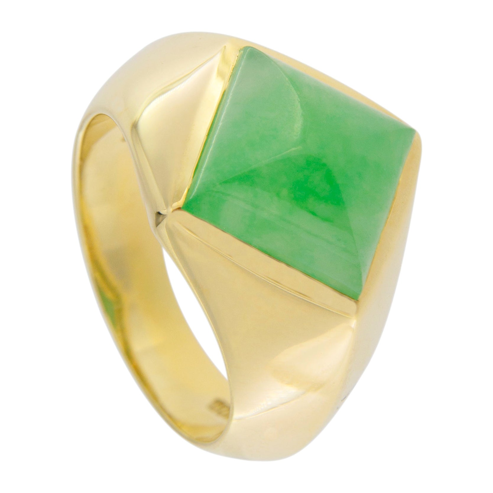Jona Jadeite Jade 18 Karat Yellow Gold Ring Band