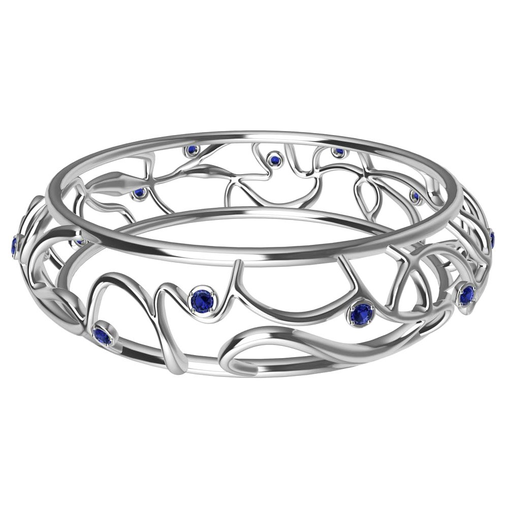 18 Karat White Gold Ocean Sapphires Bangle