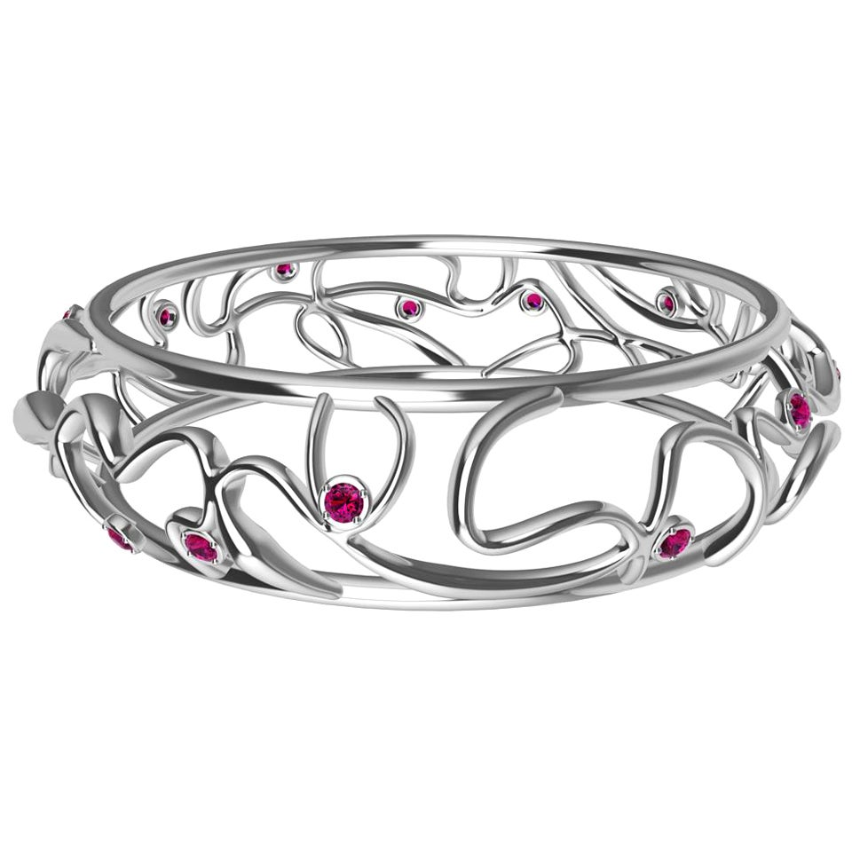 18 Karat White Gold Ruby Oceans Bangle
