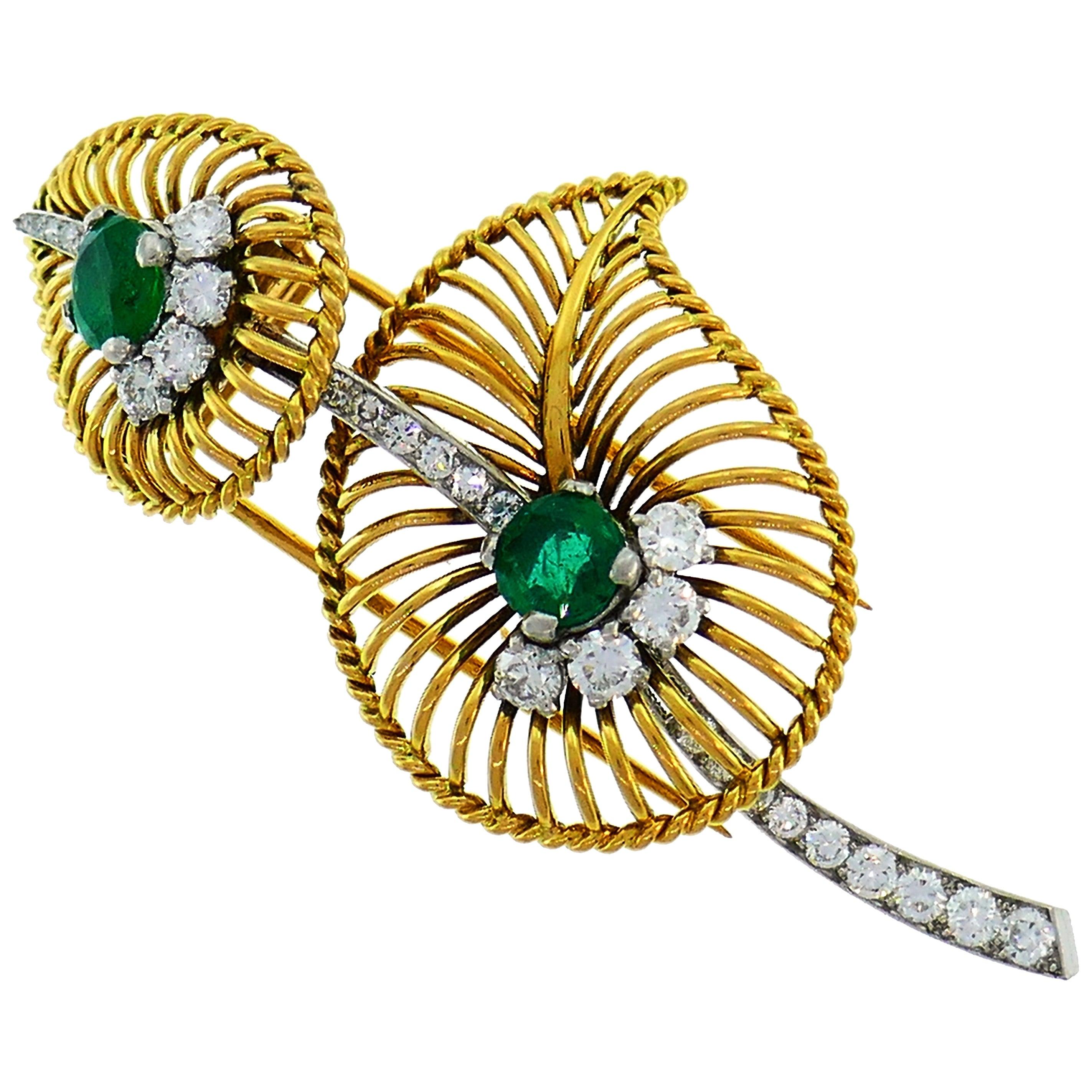 Monture Cartier Emerald Diamond Gold Pin Brooch Clip