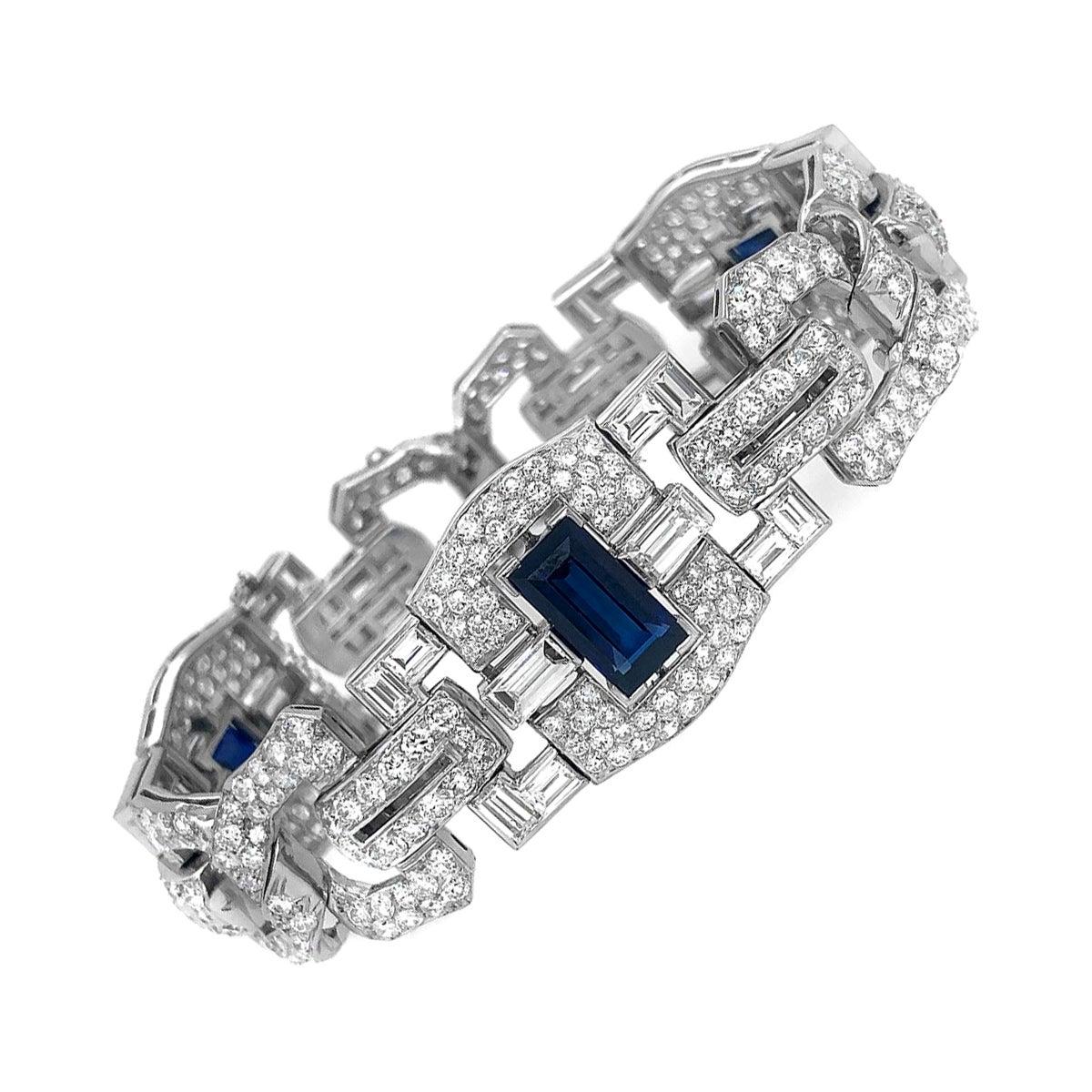 Art Deco Platinum 8 Carat Sapphire 25 Carat Diamond Bracelet