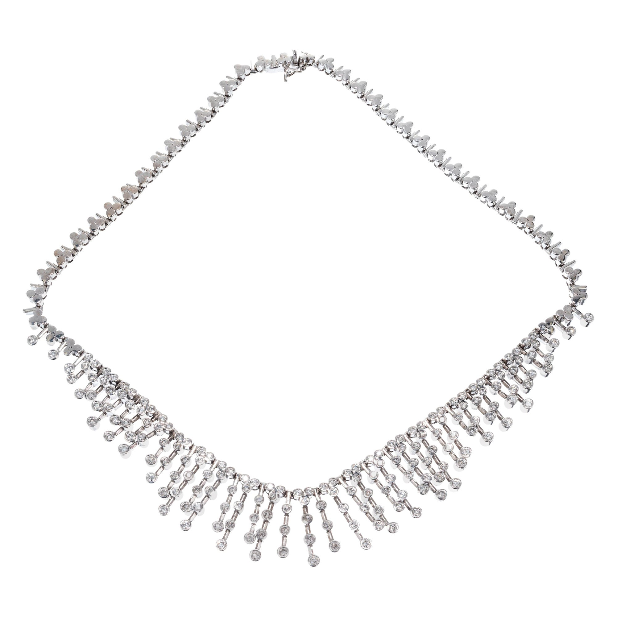 4.00 Carat Diamond White Gold Cleopatra Style Necklace