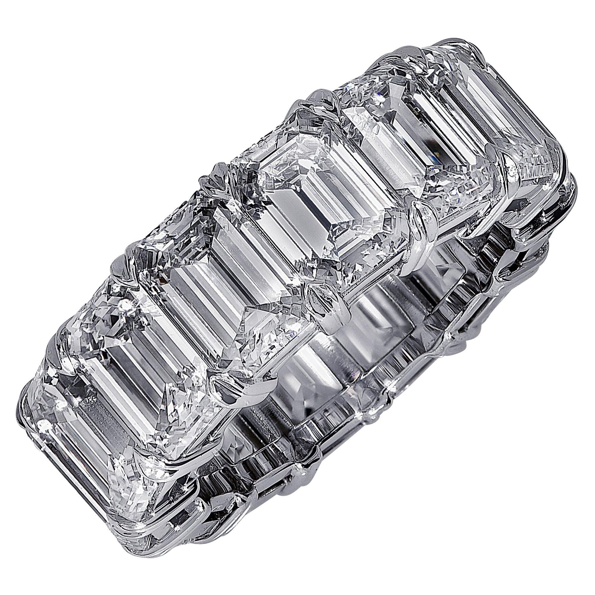 Vivid Diamonds GIA Certified 15.18 Carat Emerald Cut Diamond Eternity Band