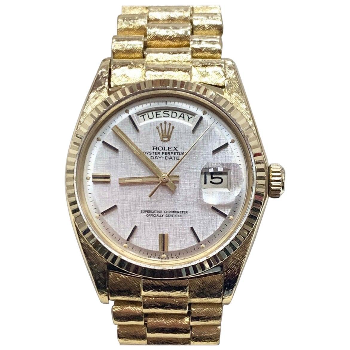 Rolex Day Date President 1803 18 Karat Gold Silver Sigma Dial Florentine, 1966