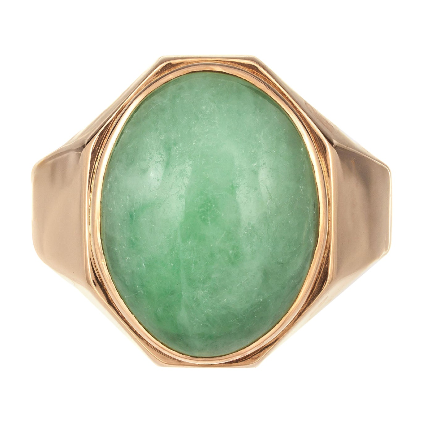 GIA Certified Oval Jadeite Rose Gold Unisex Ring
