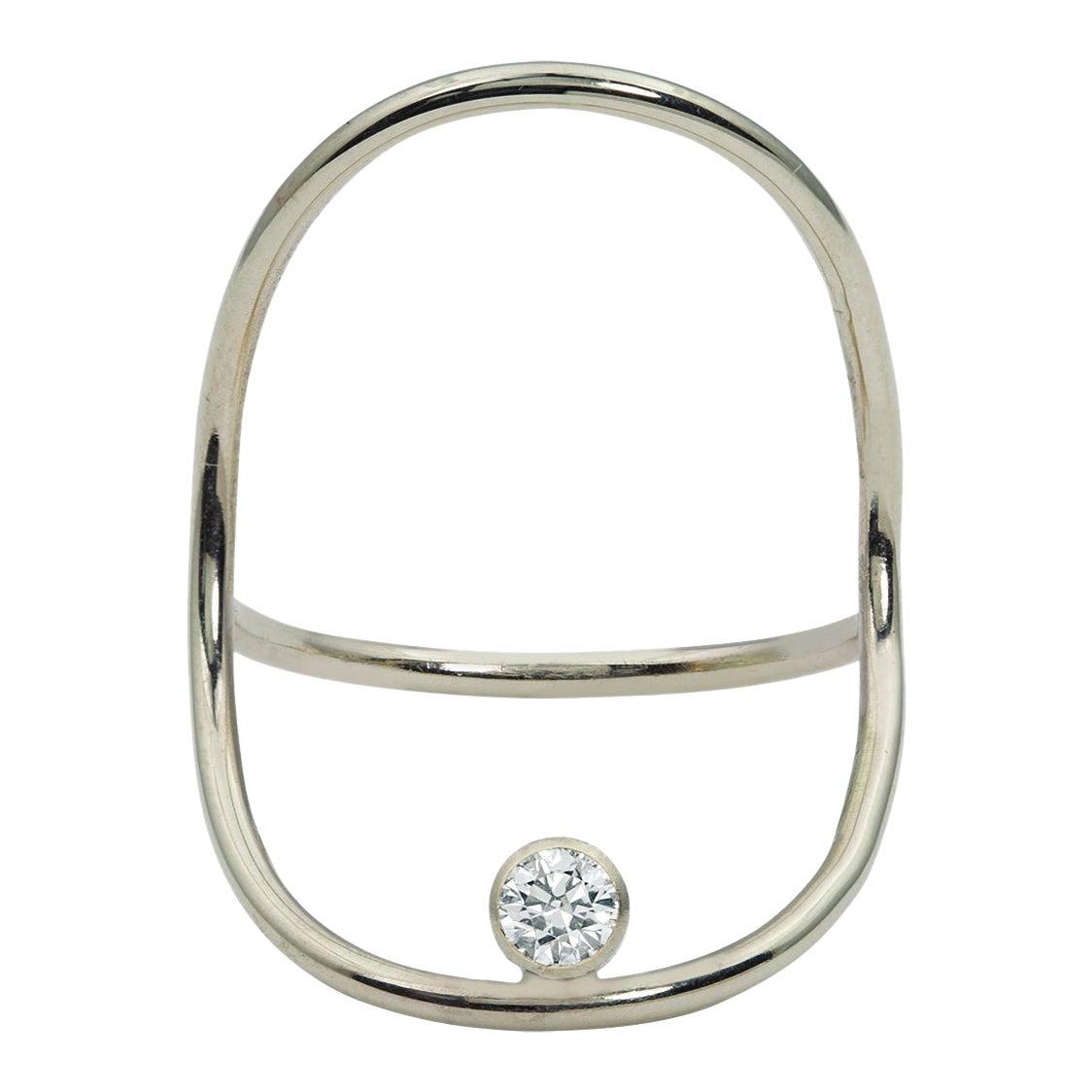 White Gold Minimalist Diamond Statement Ring