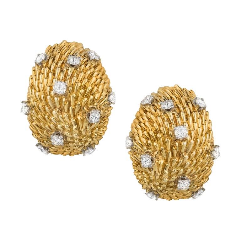 Van Cleef and Arpels 18k Diamond Dome Earrings For Sale