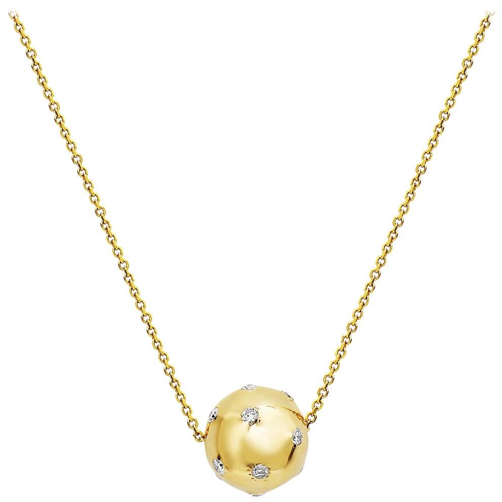 14 Karat Yellow Gold Sphere Pendant Necklace