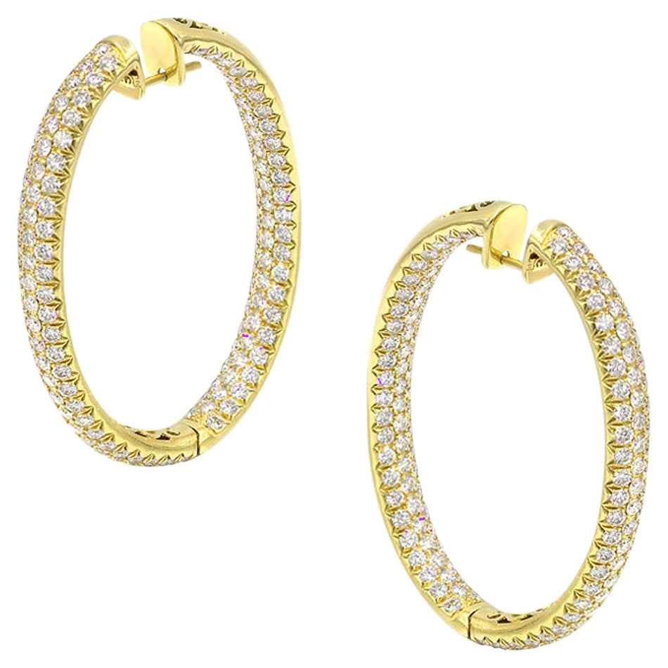 Yellow Gold 18 Karat White Diamond Big Elegant Hoop Earrings