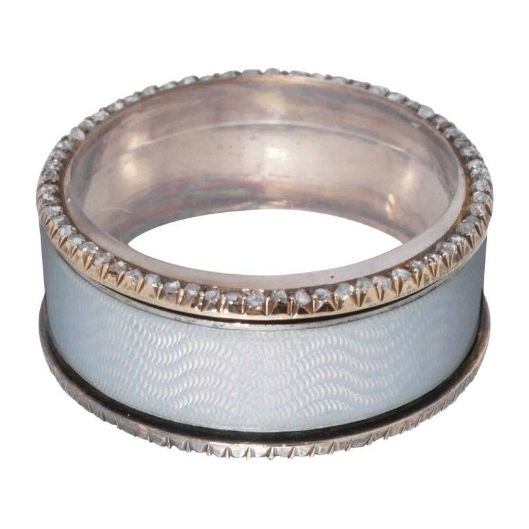Hollming Fabergé White Enamel Diamond Silver Pill Box