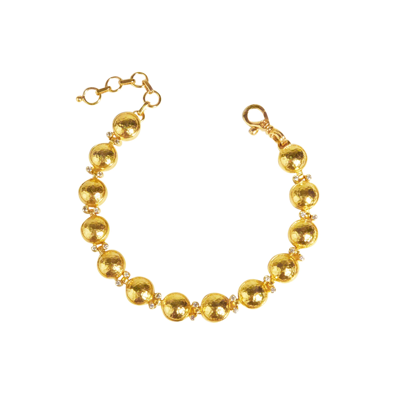 GURHAN 24 Karat Hammered Yellow Gold and Diamond Amulet Link Bracelet
