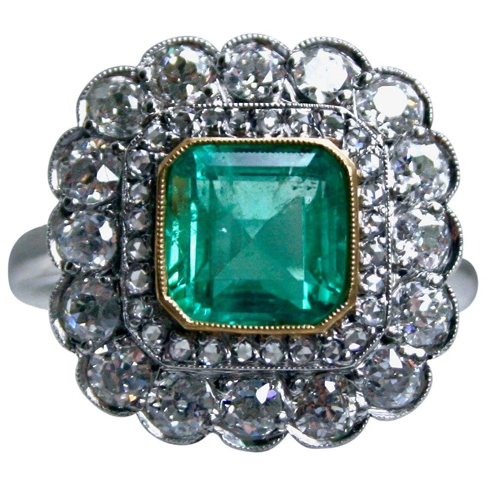 Antique Platinum Diamond Double Halo and Emerald Engagement Ring, 4.16 Carat