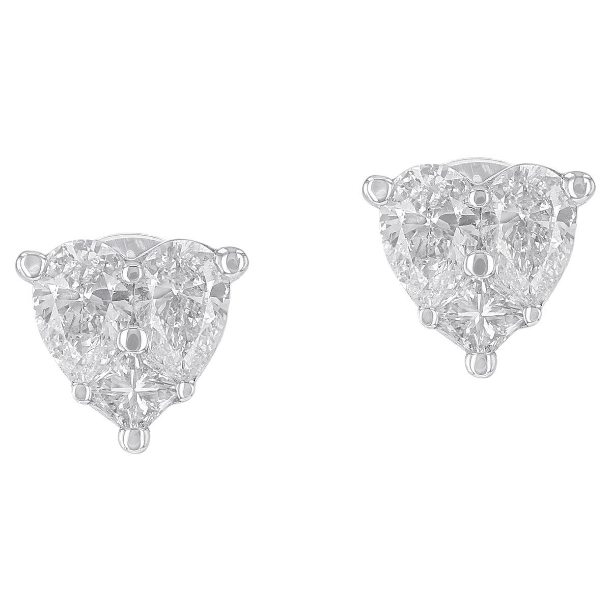 Amwaj Jewelry Heart Shape Stud Earrings