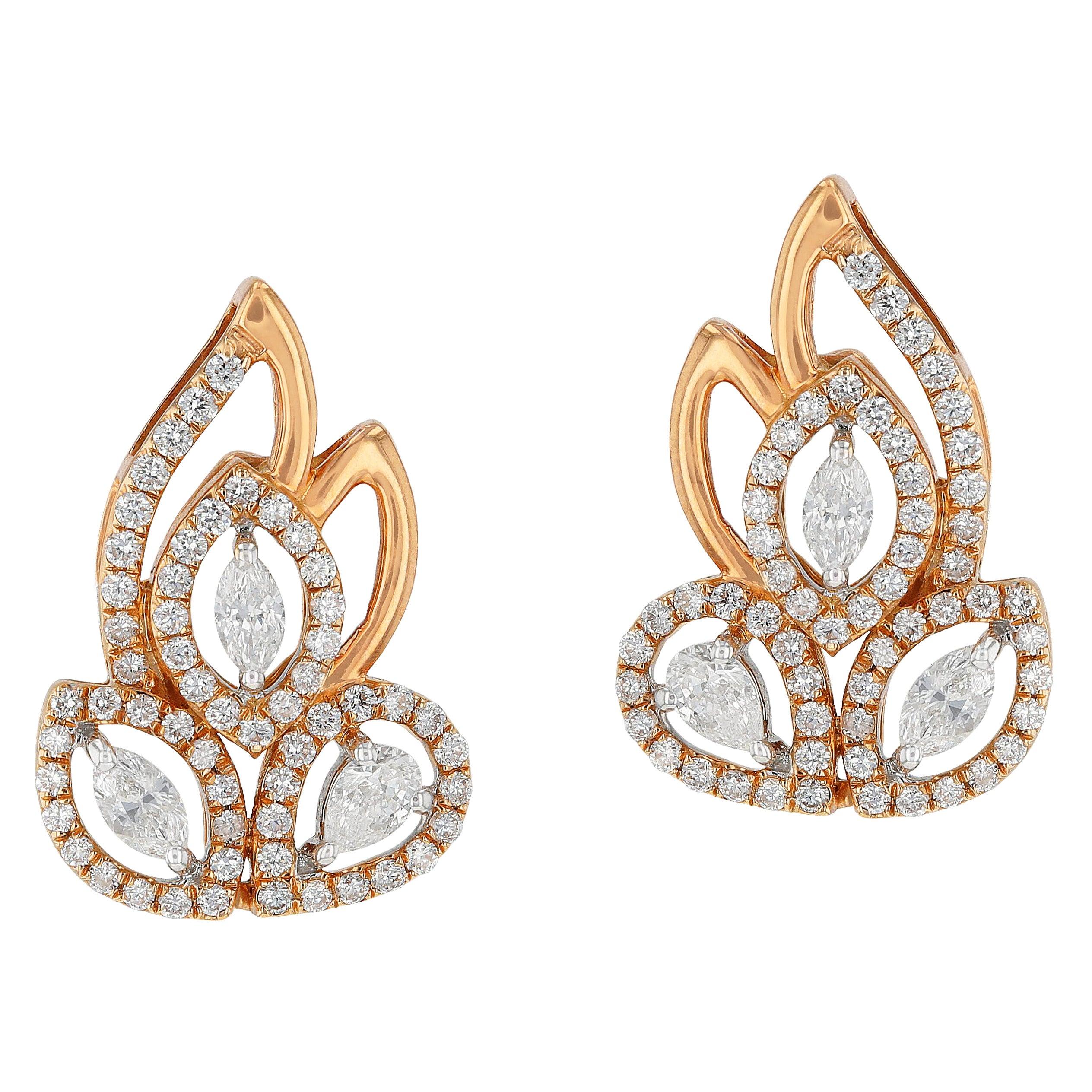 Amwaj Jewelry Pear and Marquise Cut Rose Gold Earrings