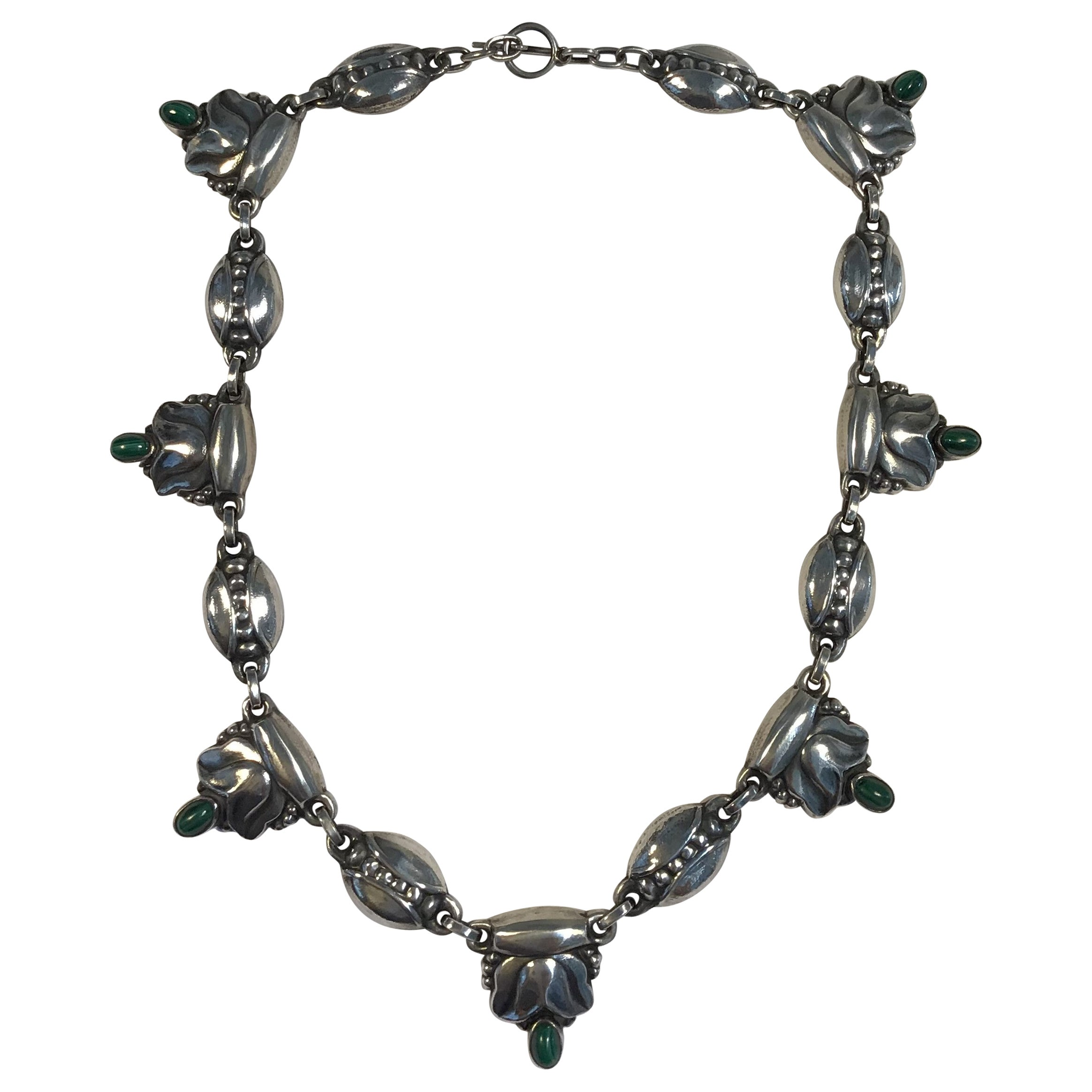 Georg Jensen Sterling Silver Necklace No. 3 Malachite