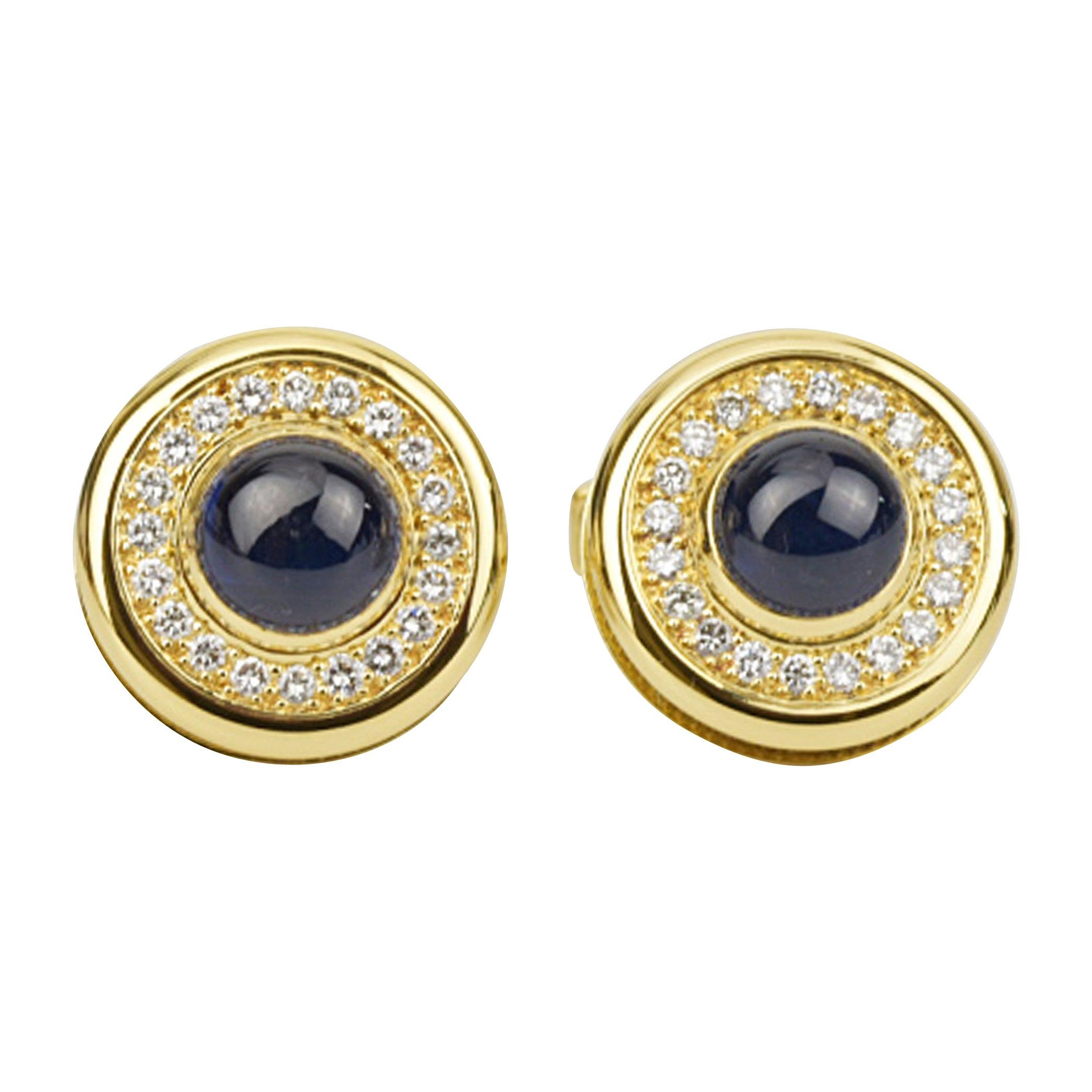 Matthew Cambery 18 Karat Yellow Gold Cabochon Sapphire and Diamond Cufflinks