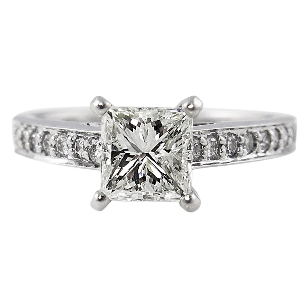 1.59 Carat Princess Diamond Engagement White Gold Ring EGL, USA