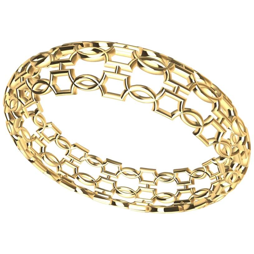 14 Karat Yellow Gold Open Circles Bangle