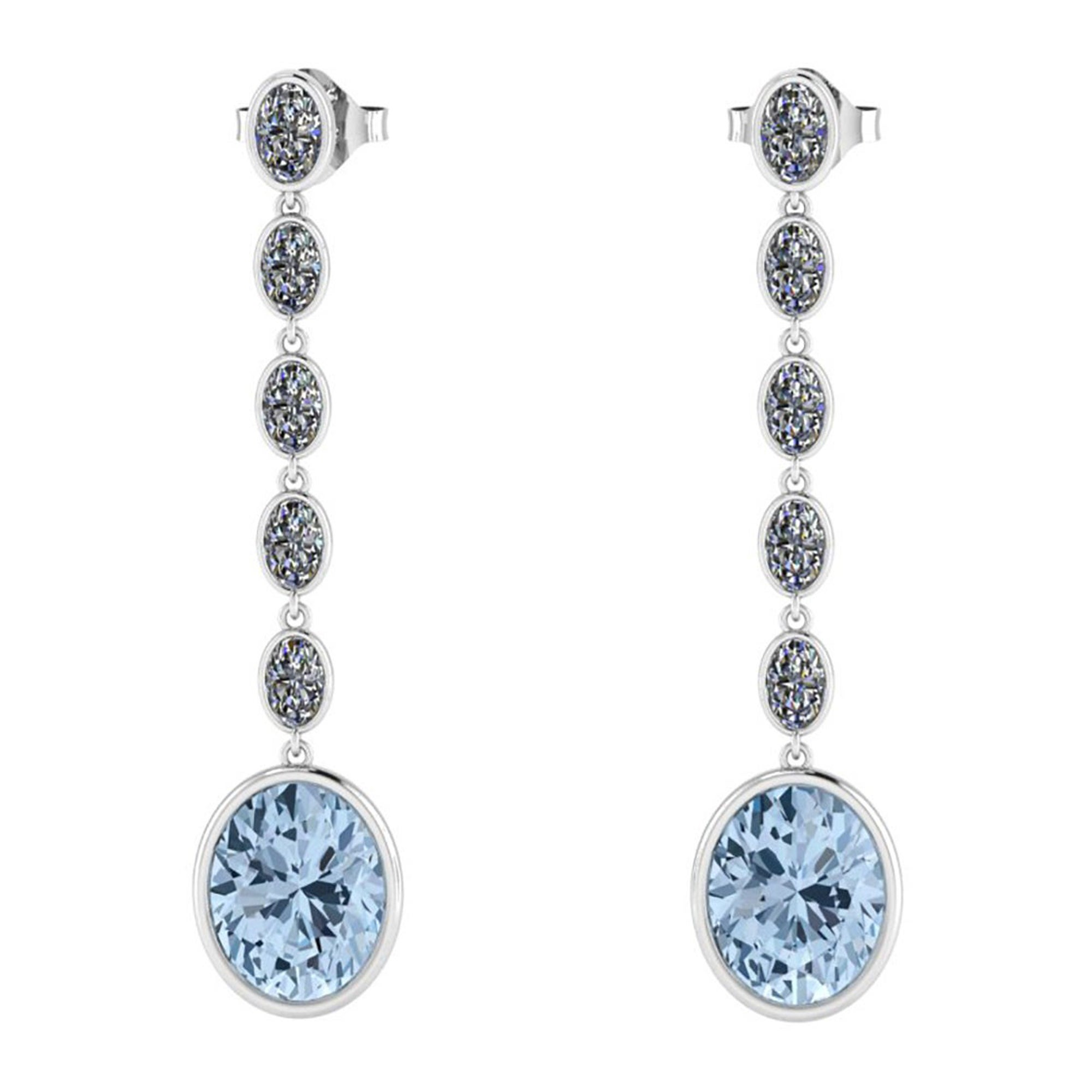 4.60 Carat Oval Aquamarine 1.10 Carat Oval Diamond Dangling Earrings in 18K Gold