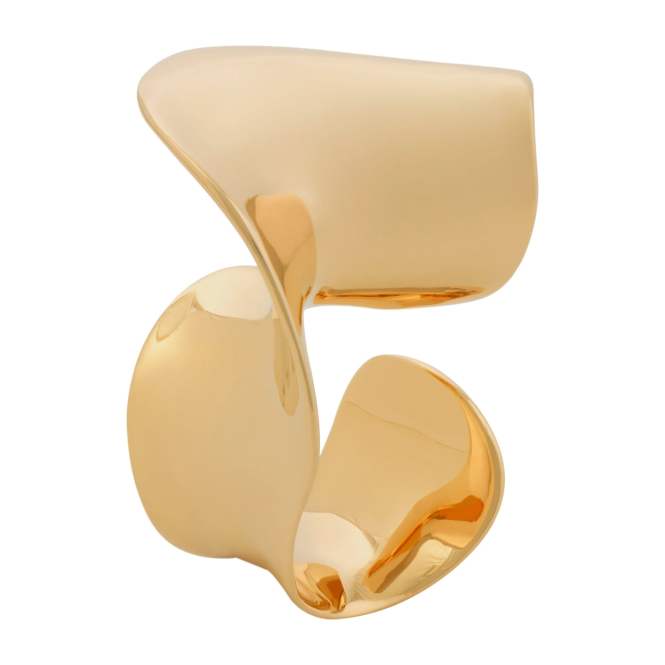 Nathalie Jean Contemporary Limited Edition 18 Karat Gold Sculpture Cocktail Ring