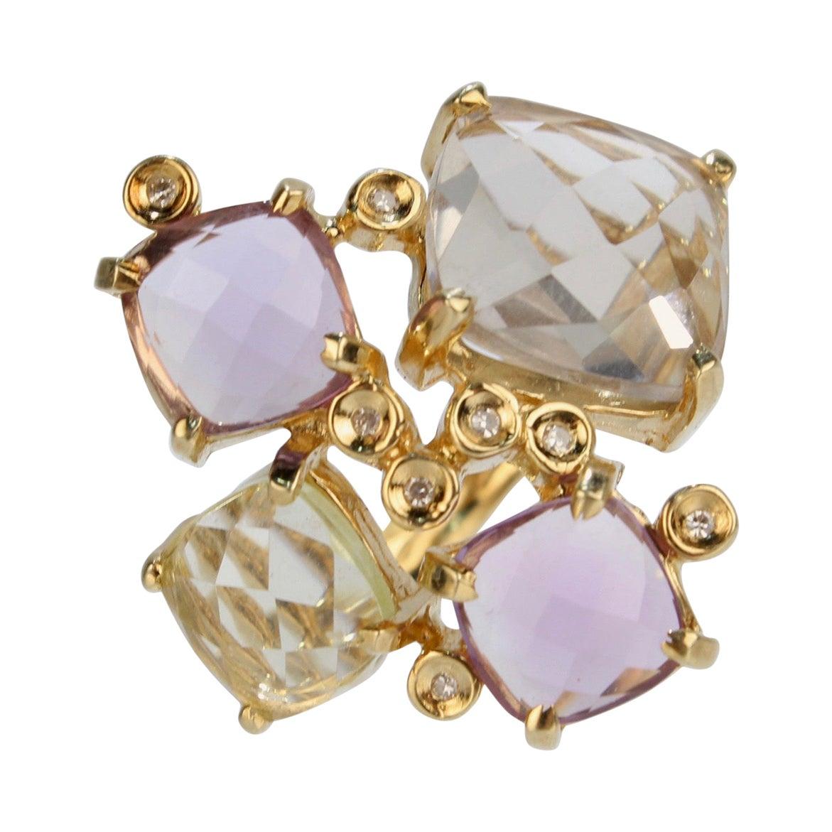 Modernist 18 Karat Gold Citrine Amethyst and Diamond Cluster Cocktail Ring