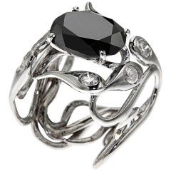 Black Diamond White Gold Cocktail Ring Handcrafted In Italy By Botta Gioielli