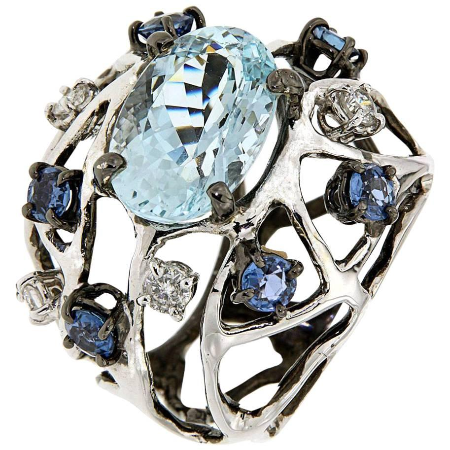 Blue Aquamarine Sapphires Diamonds White 18 Kt Gold Cocktail Ring Made In Italy