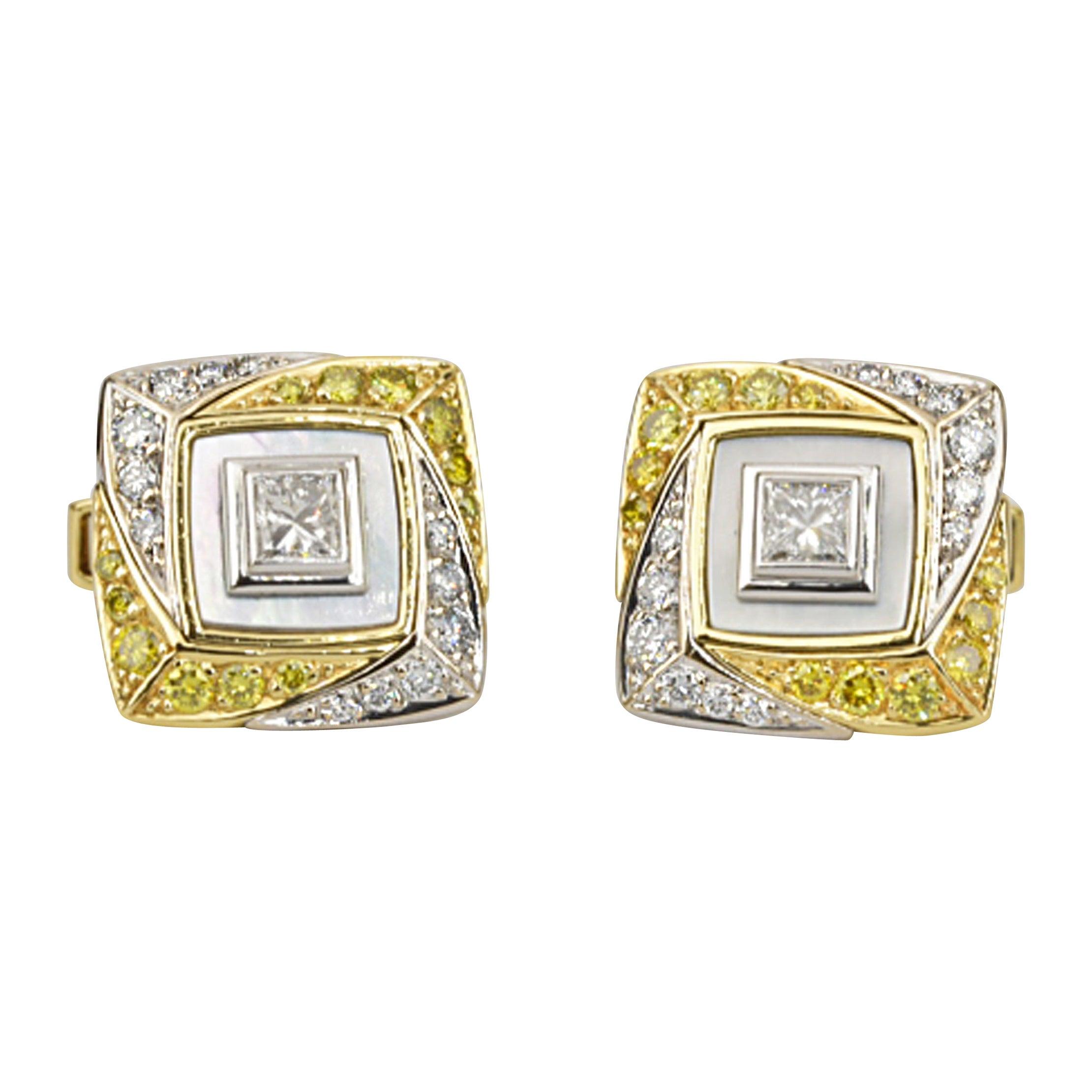 Matthew Cambery 18 Karat Gold Platinum White Diamond Yellow Diamond Cufflinks