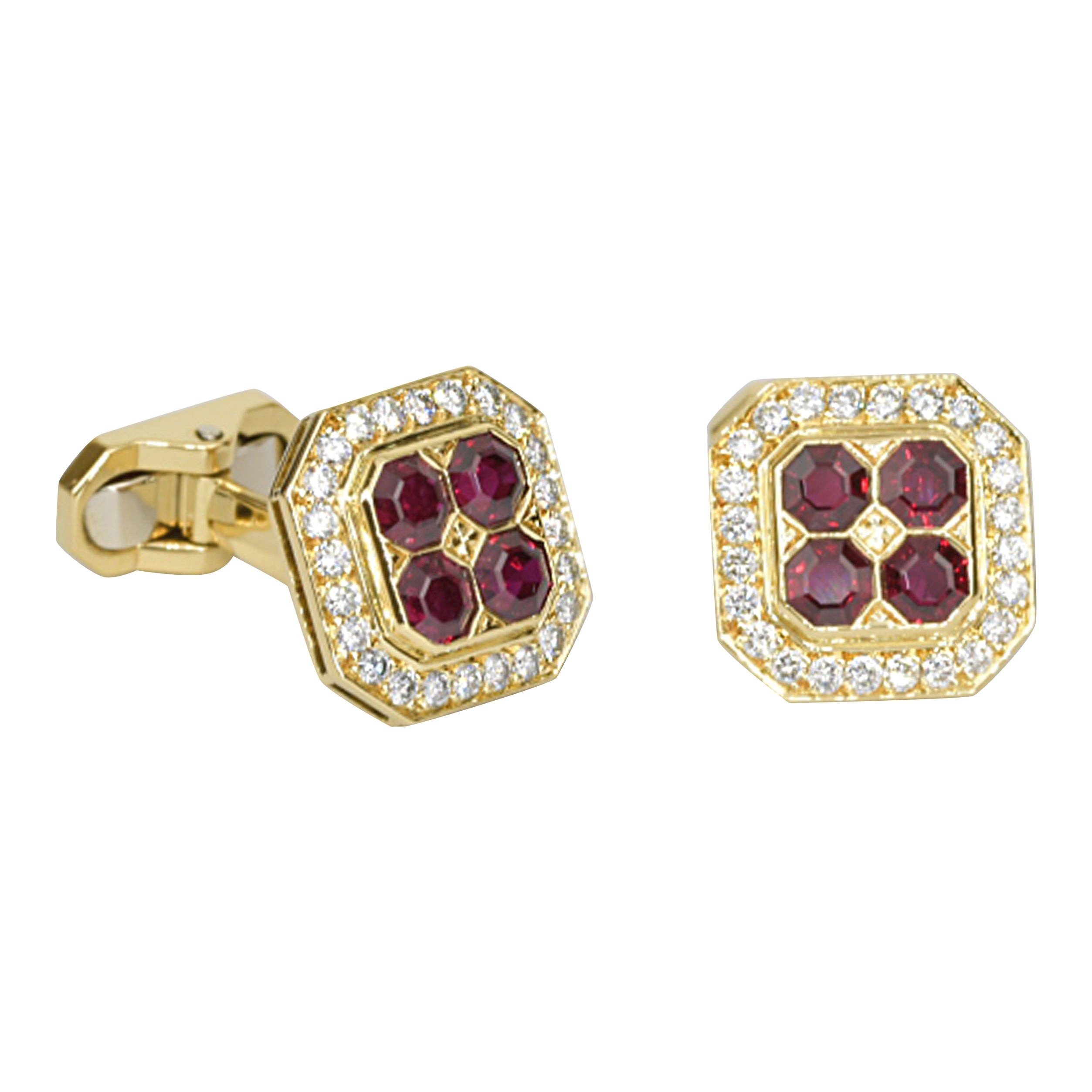Matthew Cambery 18 Karat Yellow Gold Ruby and Diamond Cufflinks
